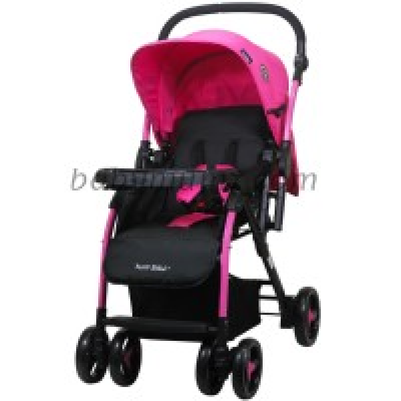 Baby-stroller-from-Petit-bébé-with-3-levels-of-seat---Pink-color