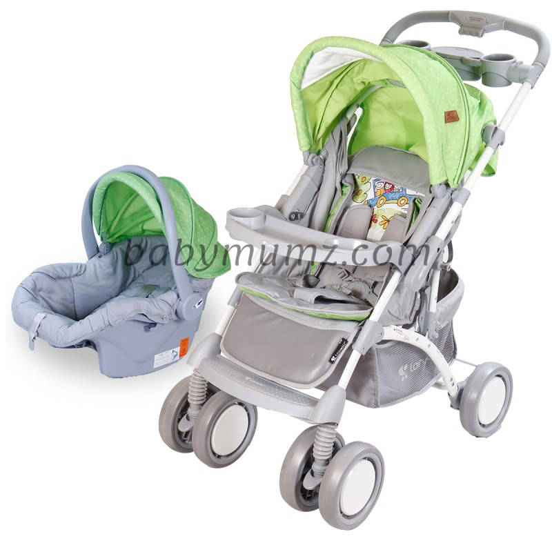 The travel system set consisting of a stroller, a carseat and a baby accessories set are the best choice for parents - green color
