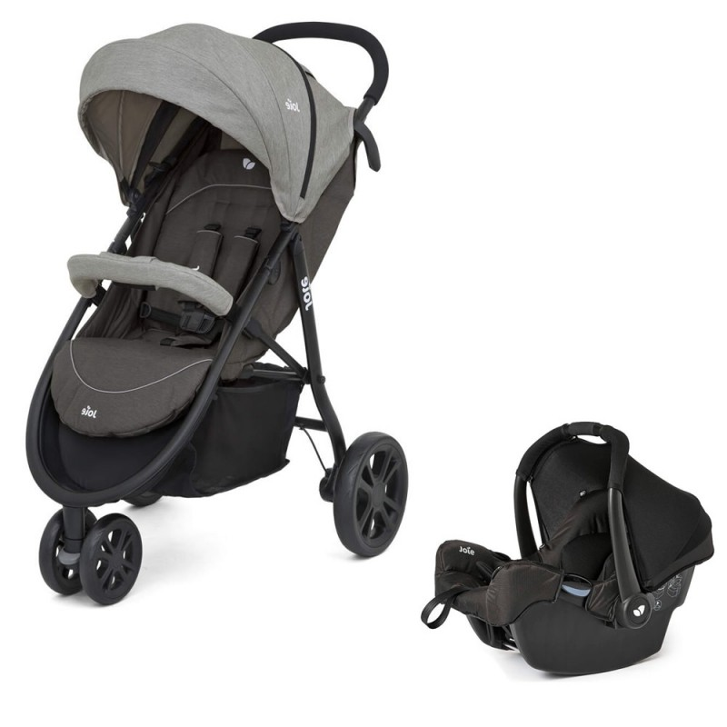 The travel system set Joie Liteetrax 3  is stylishly designed with a car seat _  grey color